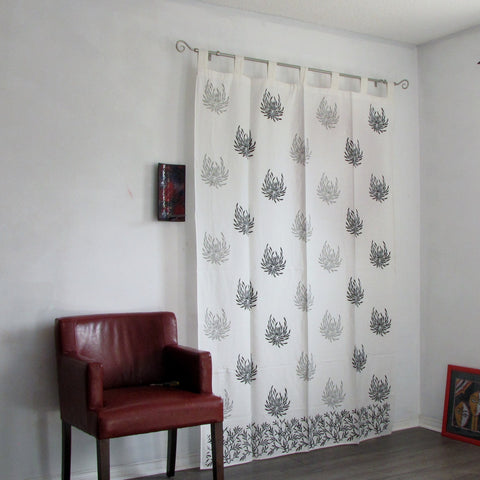 Curtains black white monochrome Tab top  loop curtains Indian block printed cotton,monochrome.