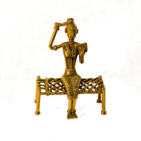 Dhokra/Dokra Art,Hand crafted,Tribal art.Lady sitting on Bed Figurine.