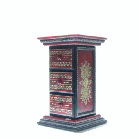 Side table, Hand Painted,Indian Art.Pillar.Red