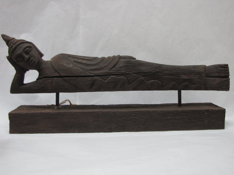Resting Buddha sculpture wood Figurine,