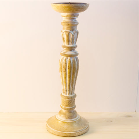 Pillar Candle sticks/holder wood .Set of 2.Antique white Distressed finish.