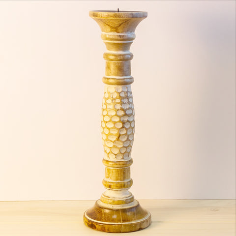 Pillar Candle sticks/holder wood .Set of 2.