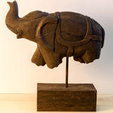 Wood Hand Carved sculpture,Figurine, Elephant on Stand.