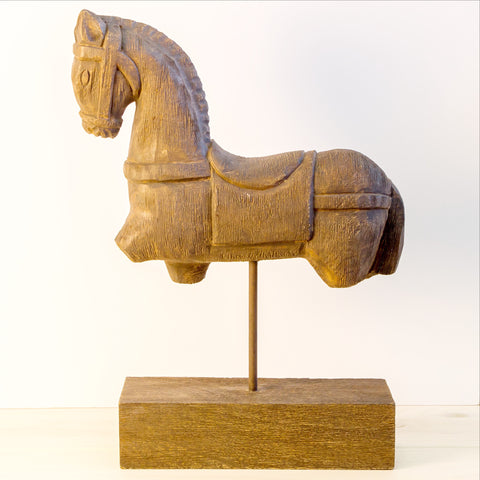 Wood Hand Carved sculpture,Figurine.Trojan Horse Fragment on Stand.