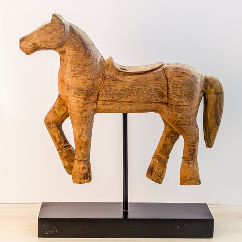 Wood Hand Carved sculpture,Figurine.Horse on Stand. 2