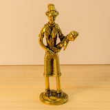 Dhokra Dokra Art,India ethnic home decor,Lady with child brass sculpture..