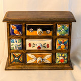 Wood Chest with Ceramic Drawers. 9 X 7 inches. 9 Drawers.