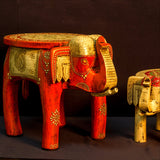Elephant stool low,Pot holder,plant stand,India art,Indian home decor,Elephant art.