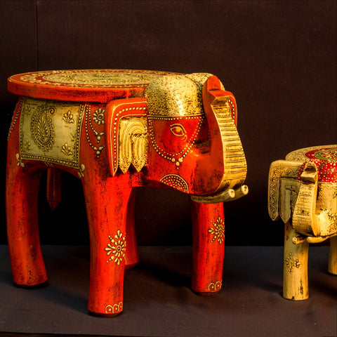 Hand Painted Wooden Elephant Stand/Plant stand,India art,low stool.