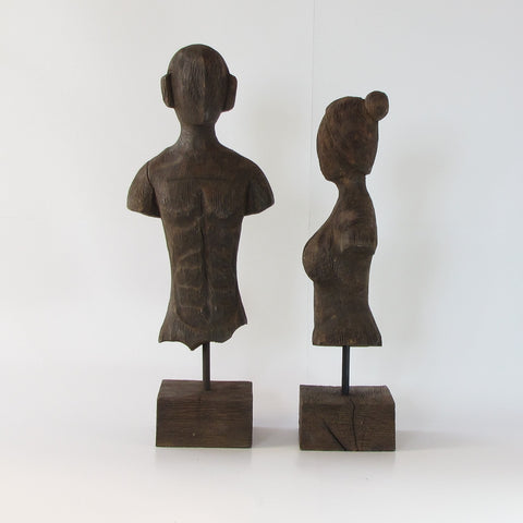 Couple wooden bust figurine carved,wooden Couple Bust.Set of 2.