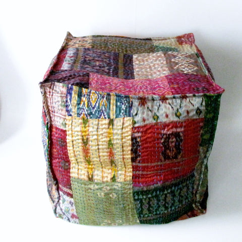 Pouf Ottoman Silk Patchwork,Hand Stitched Kantha, Bean Bag, Cotton Cover.