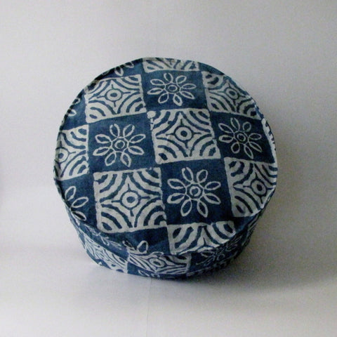 Pouf Ottoman Indigo Blue Hand Block Print,Stone-washed, Bean Bag, Cotton Cover.Round.