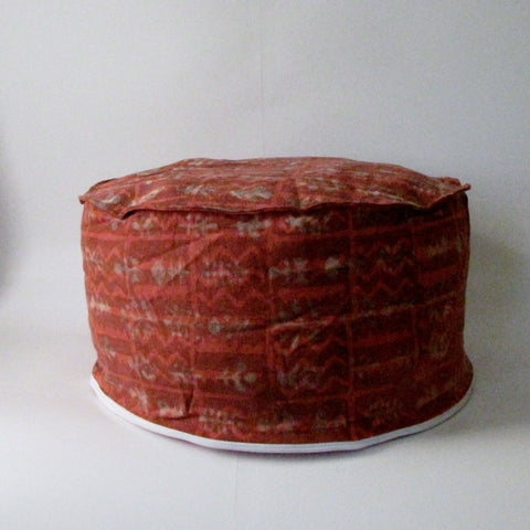 Pouf Ottoman Red Hand Block Print,Stone-washed, Bean Bag, Cotton Cover.Round