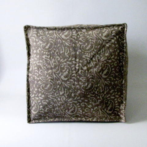 Pouf Ottoman Brown Hand Block Print,Stone-washed, Bean Bag, Cotton Cover.Cube