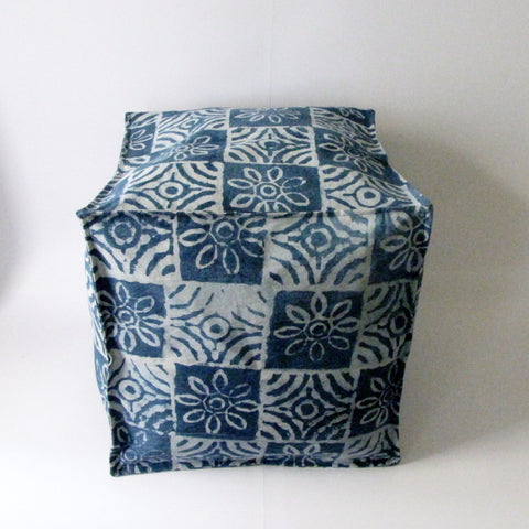 Pouf Ottoman Indigo Blue Hand Block Print,Stone-washed, Bean Bag, Cotton Cover.Cube