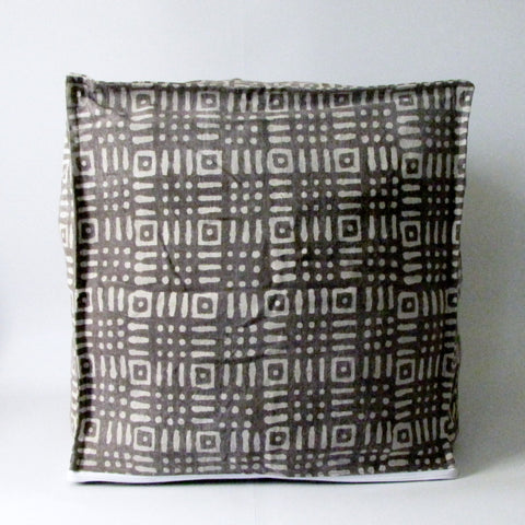 Brown Pouf Ottoman ,Block Print,Stone-washed, Bean Bag, Cotton Cover.Cube