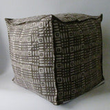 Pouf Ottoman ,Block Print,Stone-washed, Bean Bag, Cotton Cover.Cube