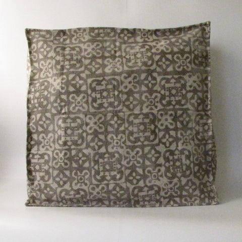 Pouf Ottoman Brown Hand Block Print,Stone-washed, Bean Bag, Cotton Cover.