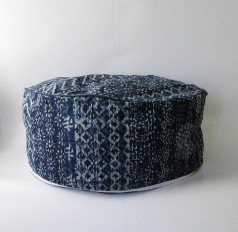 Pouf Ottoman Indigo Kantha Hand Stitched, Bean Bag, Cotton Cover.