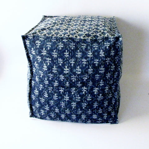 Pouf Ottoman Indigo Blue Hand Block Print,Kantha, Bean Bag, Cotton Cover.