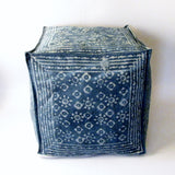 Pouf Ottoman Indigo Blue Hand Block Print,Stone-washed, Bean Bag, Cotton Cover.