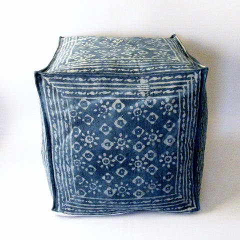 Blue denim Pouf Ottoman Indigo Blue Hand Block Print,Stone-washed, Bean Bag, Cotton Cover.