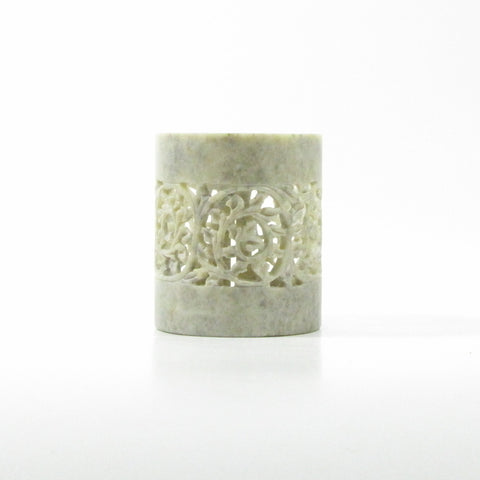 Soapstone Carved TeaLight Holder Cylindrical.