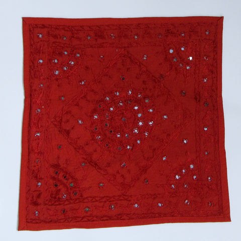 Cushion Cover red mirror work Indian home decor Embroidered,16 x 16 inches.