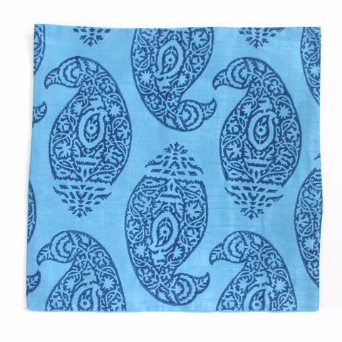 Blue Silk Cushion Pillow Cover.Indian paisley print .16 x 16 inches.Block Print.