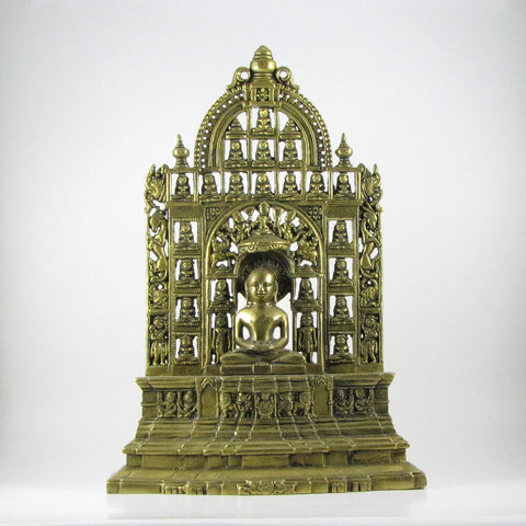 Brass Mahavirji Jain Statue with 23 Tirthankaras.