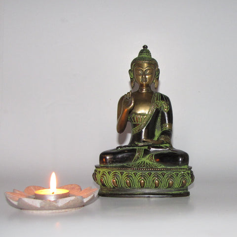 Buddha brass statue hand crafted ,figurine. 8 inches.