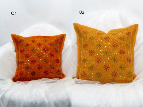 Cushion Cover orange cotton Mirror work Indian ethnic Embroidered,16 x 16 inches.
