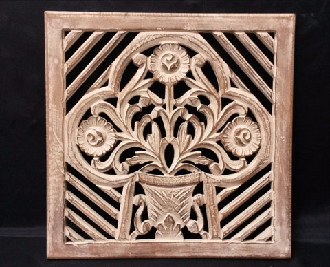 Carved Wood Wall Art Plaque ,Decorative Ela