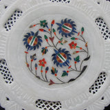 Marble Inlay Decorative Plate,Taj Mahal, Art India.Hand Crafted.