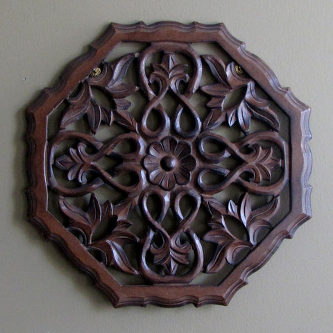 Carved Wood Wall Art ,12 inches Plaque Decorative Ena.
