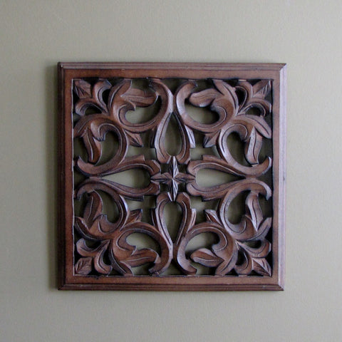 Carved Wood Wall Art Plaque ,Decorative.EXA