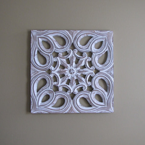 Elegant Wood Carved Decorative Wall Art Plaque Flo.