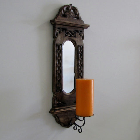 Wood wall candle sconce ,Carved wooden wall sconce,Candle Holder w/mirror Lea.