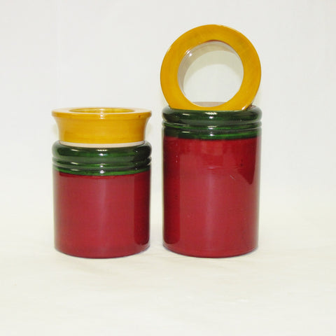 Kitchen Storage Jars,kitchen shelf decor,Wood Hand Crafted,Multicolor.