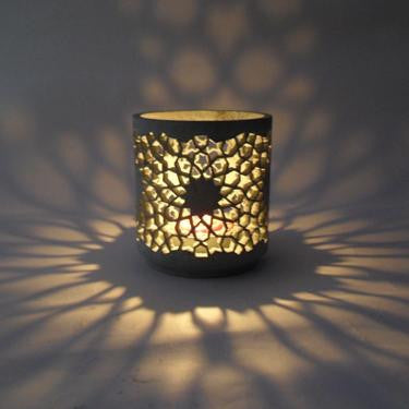 Carved Soapstone T light Holder,Art India.