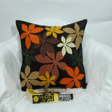 Black floral Cushion/pillow covers 16 x 16 inches.