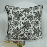 Black and white floral Cotton Cushion/Pillow Covers.16 x 16 inches.