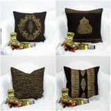 Black and gold throw Cushion/Pillow cooton Covers.16 x 16 inches.Block Print.