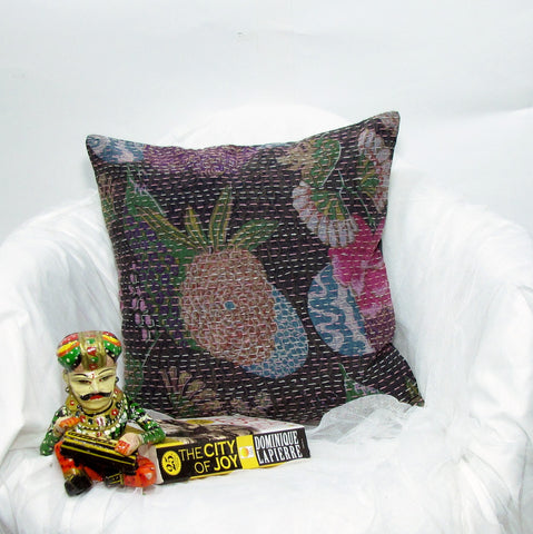 Black floral kantha pillow cushion cover India,Indian art, hand stitched 16 x 16 inches..