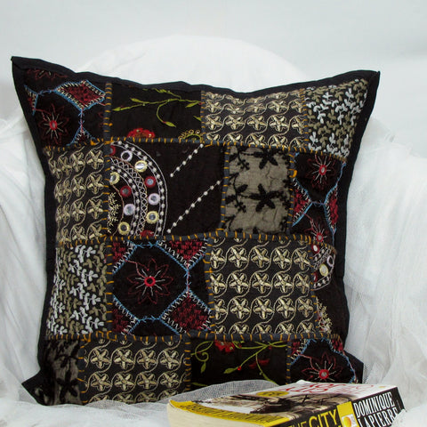 Cotton Cushion/Pillow Cover black multicolor Patchwork,Embroidered,16 x 16 inches.