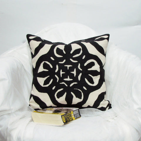 Cotton Cushion Cover applique  ,16 x 16 inches.monochrome,black white