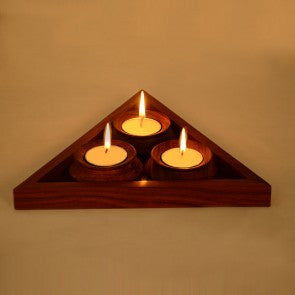 Wood Tealight Candle Holder ,ethnic design With Tray.