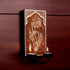 Tealight Candle holder,Wood Printing block carved,Wall mounting,sconce.