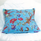 Blue floral kantha pillow cushion cover,bird ,India,Indian home decor,16 x 16 inches..