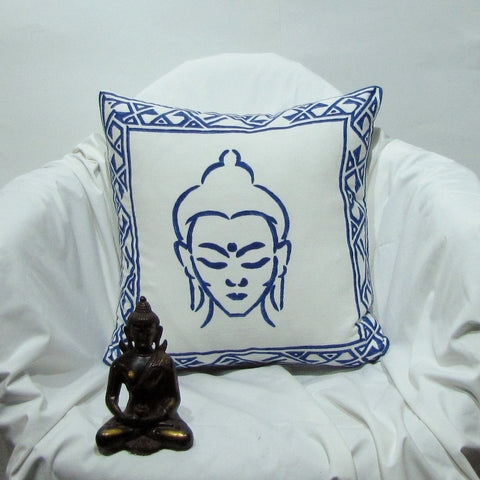 Buddha print blue throw Cushion Pillow Covers.soft cotton,16 x 16 inches